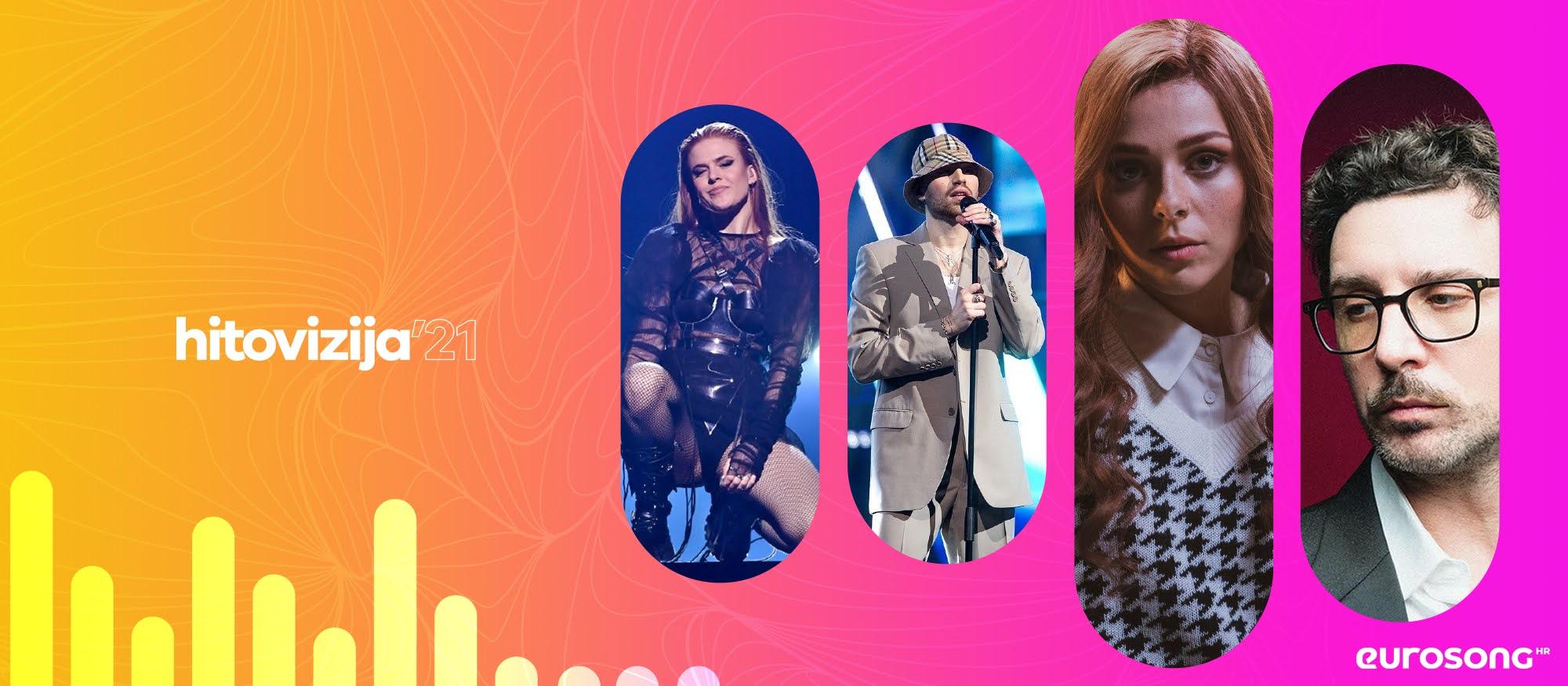 Vizual za projekt Hitovizija, pjesme s nacionalnih izbora za Eurosong, Dotter, Gabrielius Vagelis, Victoria, Willie Peyote